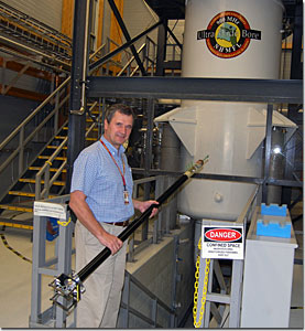 "MagLab scientist Victor Schepkin uses the ""rodent probe"" in the 900 MHz NMR magnet."
