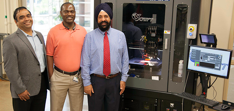 (Left to right) Subramanian Ramakrishnan, Tarik Dickens and Mandip Singh Sachdeva will establish the Center for Complex Materials Design for Multidimensional Additive Processing.