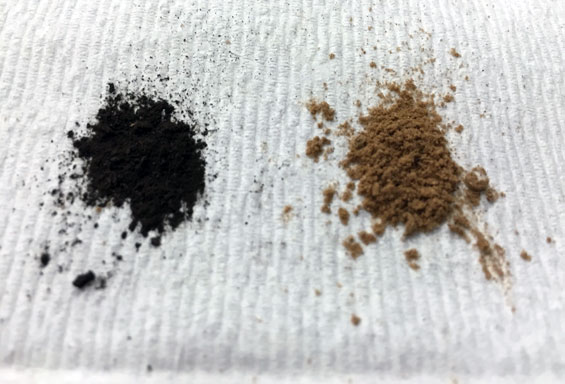 Soil samples from Peru (left) and Ontario, Canada.