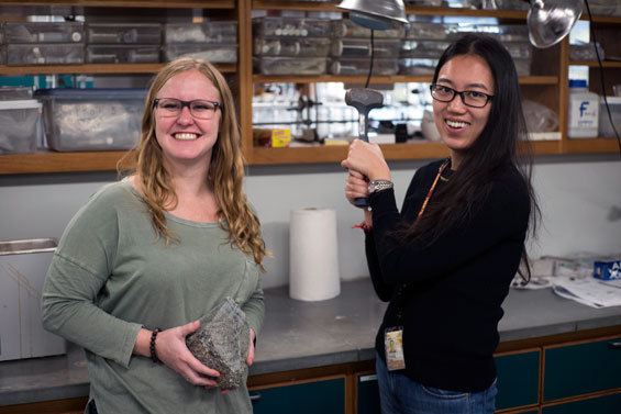 Geochemistry graduate research assistants Stevie Henrick (left) and Shuying Yang.