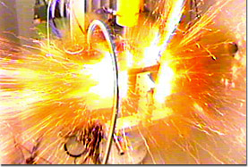 A pulsed magnet explodes.
