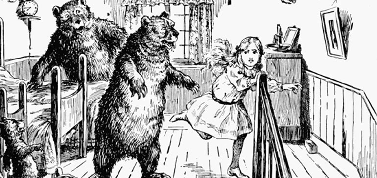Illustration of Goldilocks and the Three Bears.