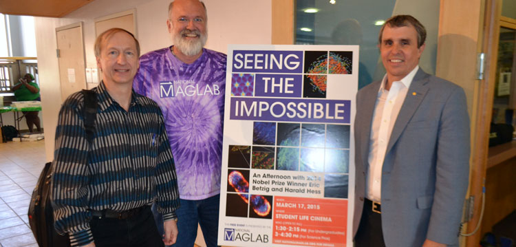 Physicist Harald Hess, MagLab Director Greg Boebinger and Nobel laureate Eric Betzig.