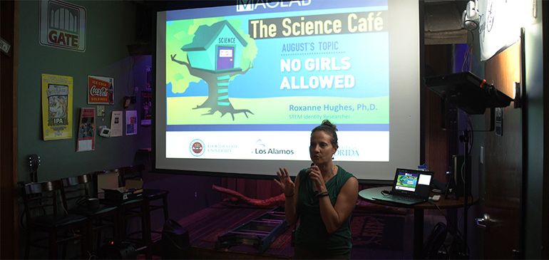 Roxanne Hughes discussed how to create a more inclusive climate at the MagLab's recent Science Cafe