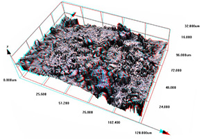 Fractured surface from LaFeAs-OF sample imaged - 3D Anaglyph Image (Red/Blue Glasses Required)