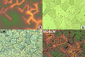 MO and light microscope (LM) images of a deformation textured coated conductor.