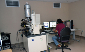 Zeiss 1540 XB crossbeam scanning electron microscope.