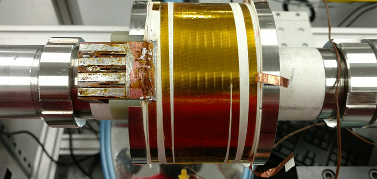 This test coil, made with a new variant of Bi-2223, generated a field of 5.5 teslas in a background field of 14 teslas