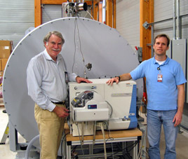 Alan Marshall, left, and ICR scientist Chris Hendrickson with the 14.5 tesla ICR magnet.
