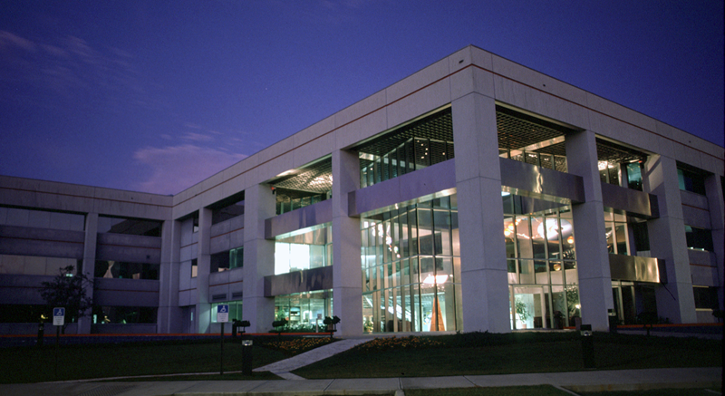 Exterior of the MagLab at night.