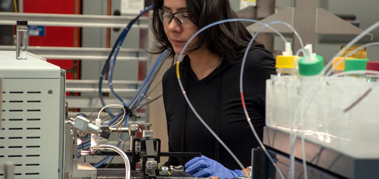 Romero fine-tunes the instrumentation for her experiment on the 21-tesla FT-ICR mass spectrometer.
