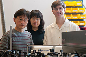 MagLab user Junichiro Kono, postdoctoral researcher Ji-Hee Kim and student Tim Noe.