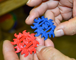 These plastic pieces were made by 3D printers.