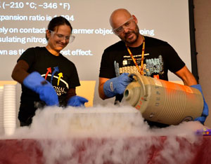 Liquid nitrogen demonstration at the 2013 Spooky Science Night.