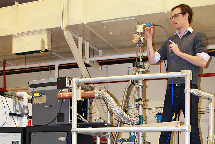 Los Alamos National Laboratory scientist Brad Ramshaw conducts an experiment at the Pulsed Field Facility