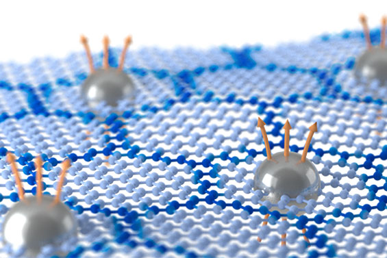 Artistic illustration of the fractional quantum hall effect in moire-patterned graphene.