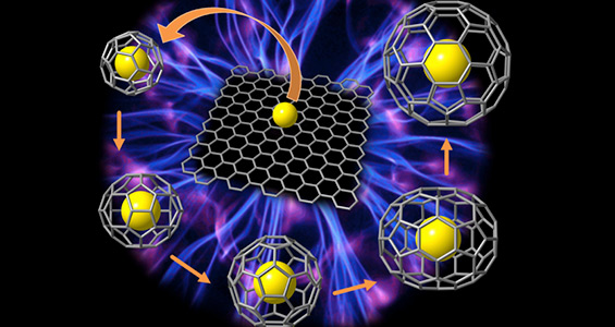 Image of Artistic representation of the transformation of graphene and a metal.