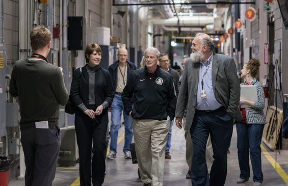 Rep. Gwen Graham, FSU President John Thrasher and MagLab Director Greg Boebinger tour the facility.