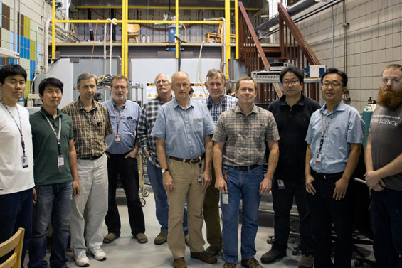 MagLab staffers involved in making the magnet coil.