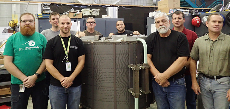Members of the MagLab team behind the Nijmegen magnet include (left to right); Joe Lucia, Justin Deterding, Todd Adkins, Robert Stanton, Erick Arroyo, Don Richardson, Lee Marks and project manager Iain Dixon.