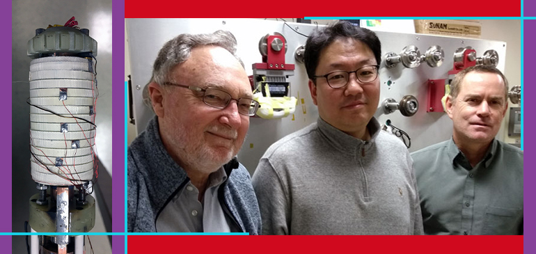 """The """"Little Big Coil"""" team included (left to right) David Larbalestier, Seungyong Hahn and Iain Dixon."""