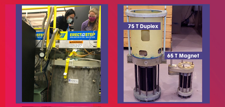 You Lai (left) and Johanna Palmstrom (right) use the new duplex magnet at the Los Alamos MagLab Pulsed Field Facility. The same magnet was recently used for the first time in a series of experiments on the exotic Kondo insulator YbB12.