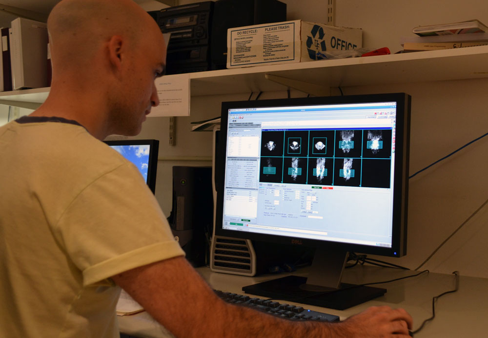 Viewing images obtained with the 4.7 tesla MRI scanner at the Advanced Magnetic Resonance Imaging and Spectroscopy Facility  at the University of Florida in Gainesville.