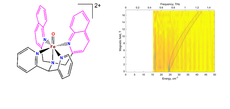 Left: The structure of one of the oxoiron(IV) complexes. Right: A false-color (contour) map of the far-infrared magnetically-active transitions (FIRMS)