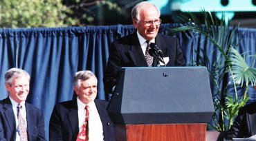 "John Robert ""Bob"" Schrieffer, a former chief scientist at the National MagLab, addresses the crowd at the October 1994 dedication for the lab's new Tallahassee site."