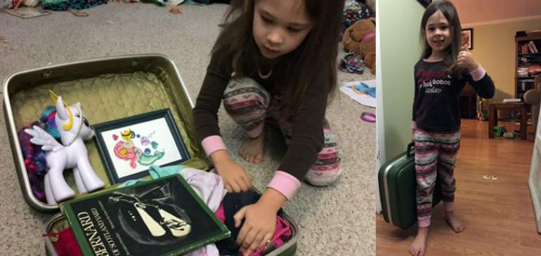 Ella Morton packs her suitcase for her first science conference.