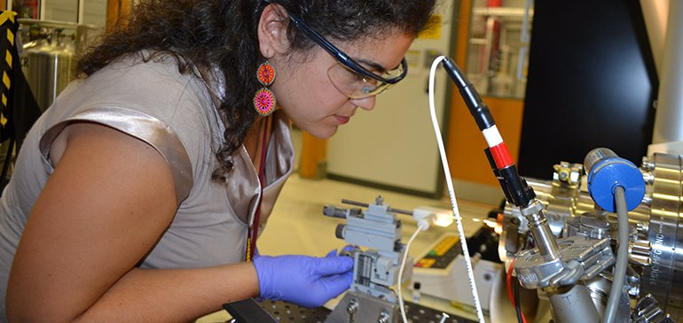 Paleobiogeochemist Nur Gueneli analyzes the oldest pigments yet discovered using magnets in the MagLab's Ion Cyclotron Resonance Facility.