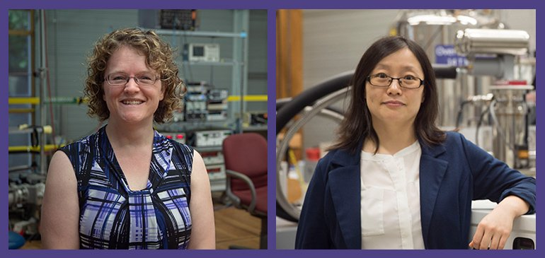 Physicist Christianne Beekman (left) and chemist Yan-Yan Hu of the National MagLab and Florida State University have been awarded prestigous CAREER grants from the National Science Foundation.