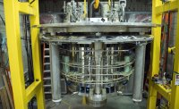 The world-record 36-tesla series connected hybrid before being lowered into its cryostat.