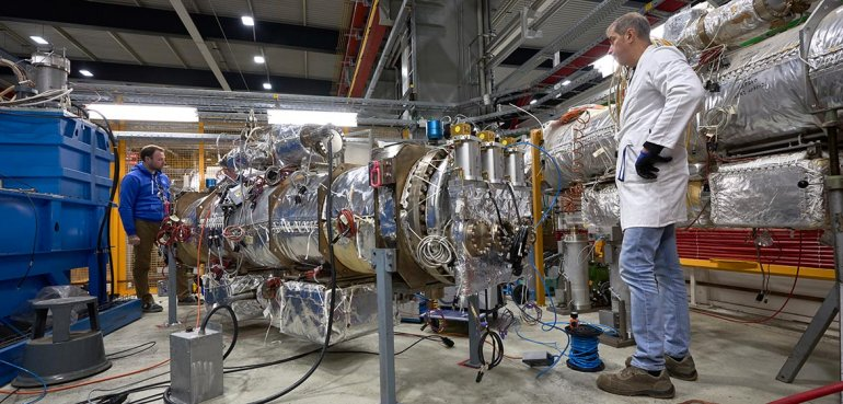 "A ""kicker"" magnet is tested for use in the high-luminosity upgrade to CERN's Large Hadron Collider."