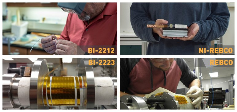 For the building of a proposed 40-tesla superconducting magnet, MagLab scientists and engineers are studying four different technologies. They are (clockwise from upper left): Bi-2212, non-insulated REBCO, insulated REBCO and Bi-2223.