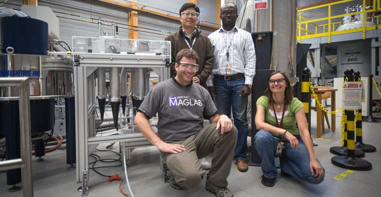 The Overhauser DNP team includes (clockwise from back left) Sungsool Wi, Adewale Akinfaderin, Bianca Trociewitz and Thierry Dubroca. Dubroca and Akinfaderin will present the group's work at Discovery on Parade.