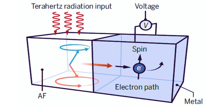 Incident terahertz radiation pumps spin current into an adjacent metal, which is converted into a charge current and charge voltage through the so-called spin Hall effect.