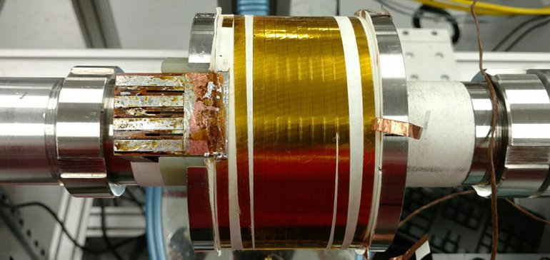 This test coil, made with a new variant of Bi-2223, generated a field of 5.5 teslas in a background field of 14 teslas.