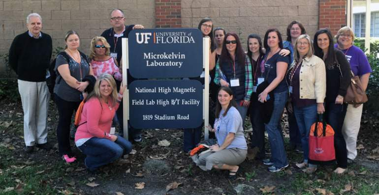 Elementary school teachers tour the MagLab's High B/T Facility.